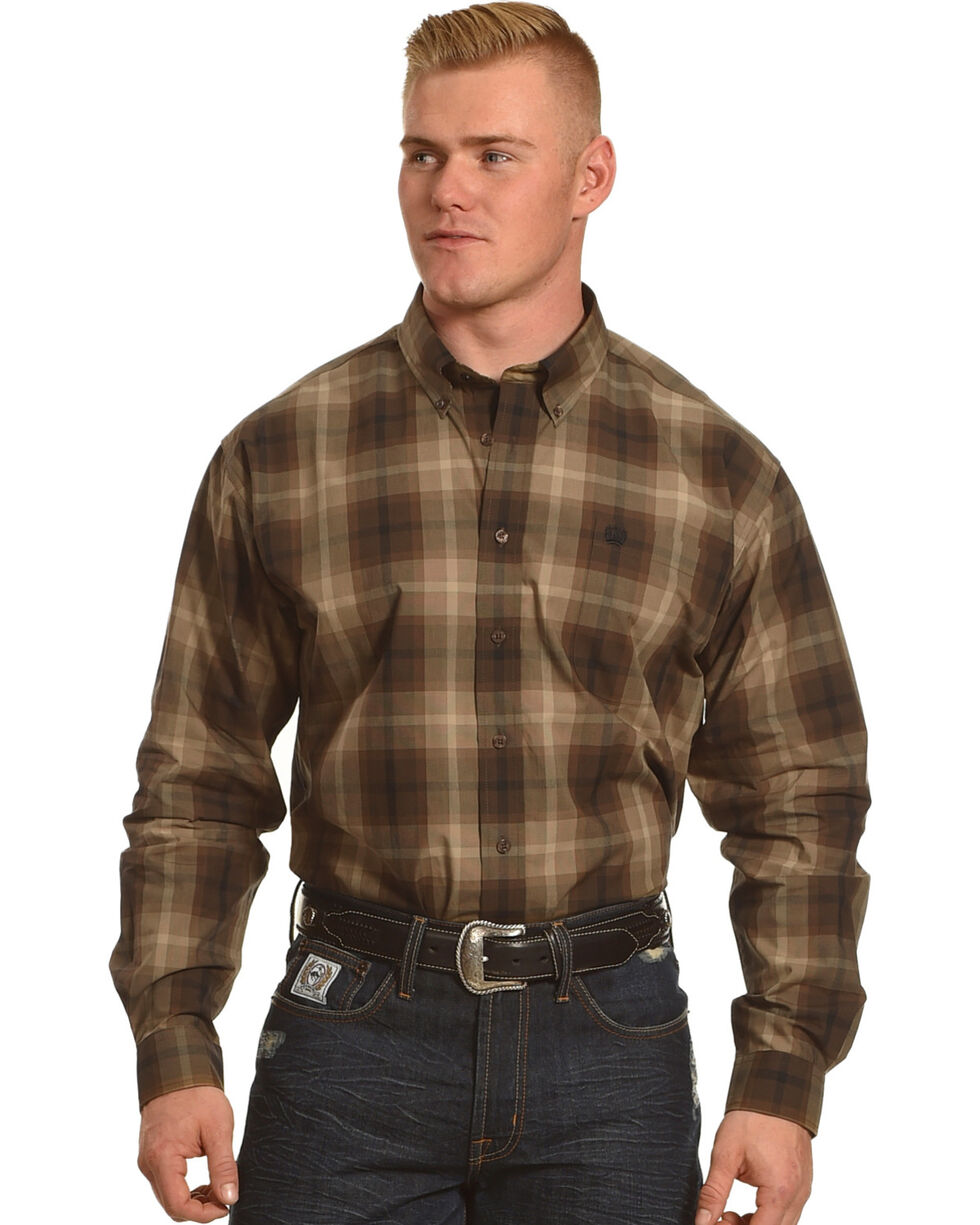 Cinch Men's Brown Plain Weave Plaid Long Sleeve Button Down Shirt - Big, Brown, hi-res
