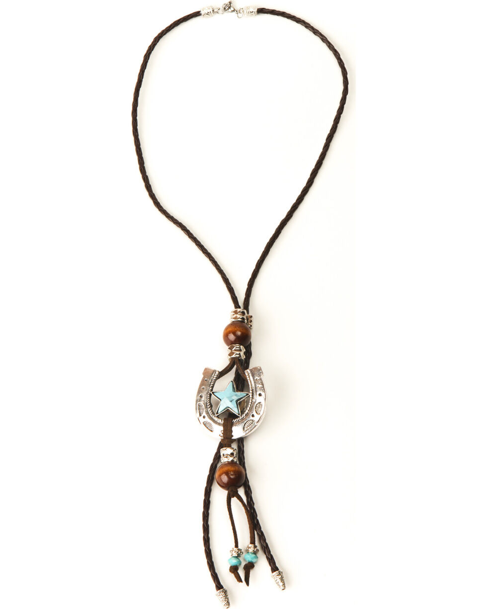 Phunky Horse Women's 3-in-1 Turquoise Star Horseshoe Bolo, Turquoise, hi-res