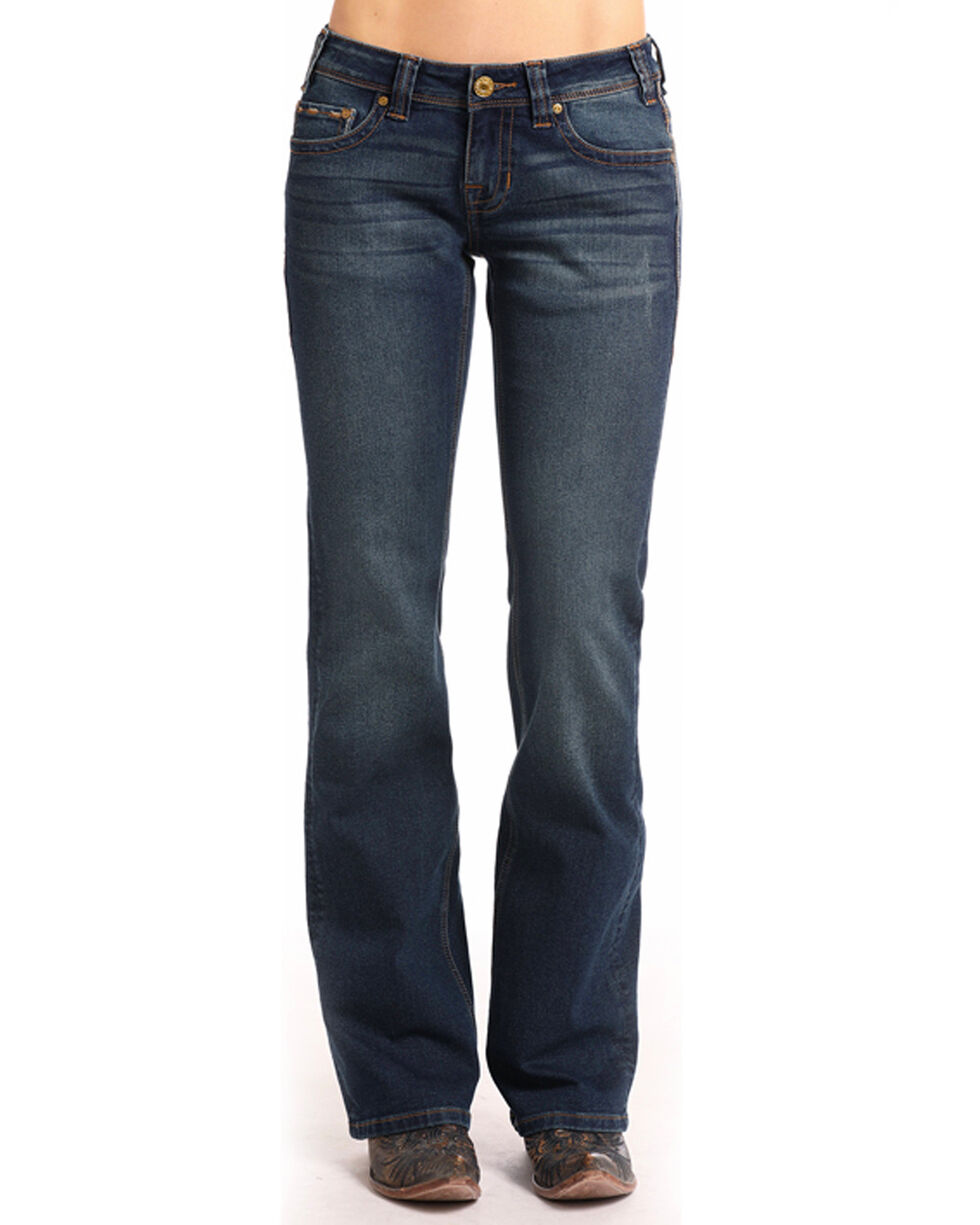 Rock & Roll Cowgirl Women's Feather Border Stitch Extra Stretch Riding Jeans - Boot Cut, Blue, hi-res