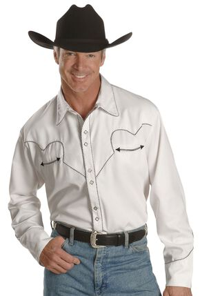 Scully White Retro Western Shirt, White, hi-res