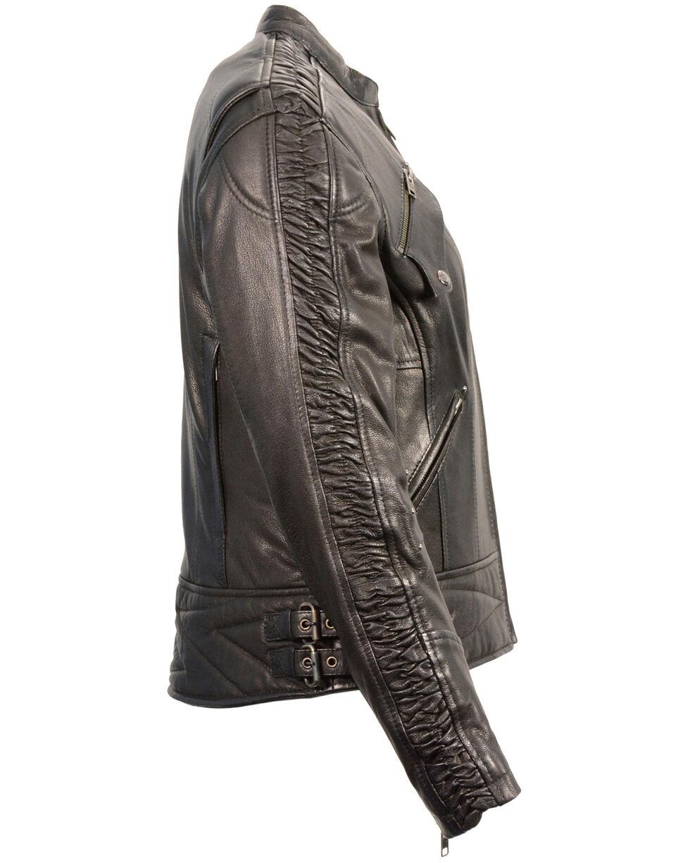 Milwaukee Leather Women's Crinkle Arm Lightweight Racer Jacket, Black, hi-res