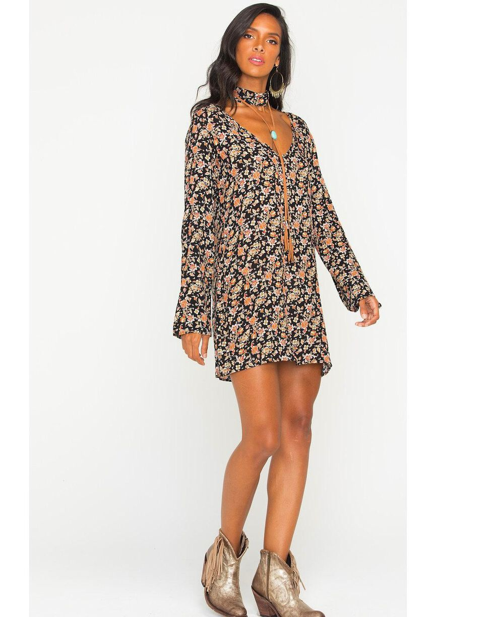 Glam Women's Floral Cut Out Trapeze Dress , Black, hi-res