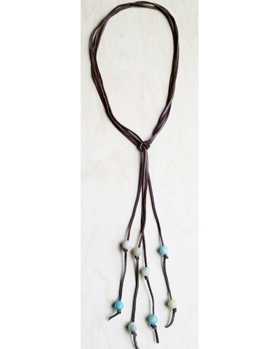Jewelry Junkie Women's Lasso Necklace with Frosted Amazonite Accents, Light Blue, hi-res