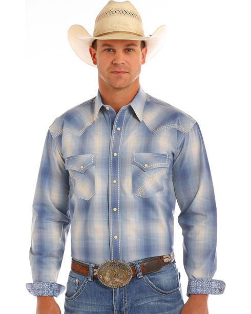 Rough Stock by Panhandle Men's Plaid Long Sleeve Snap Shirt, Blue, hi-res