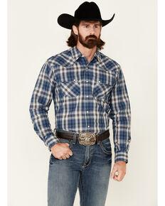 Ariat Men's Abilene Retro Med Plaid Long Sleeve Snap Western Shirt , Blue, hi-res