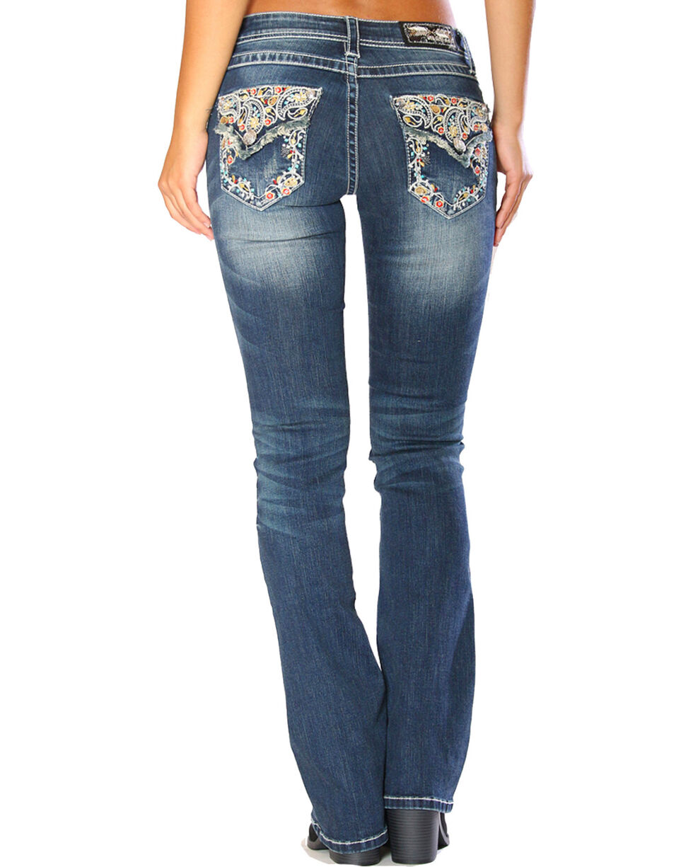 Grace in LA Women's Blue Floral Embroidered Flap Jeans - Boot Cut, , hi-res