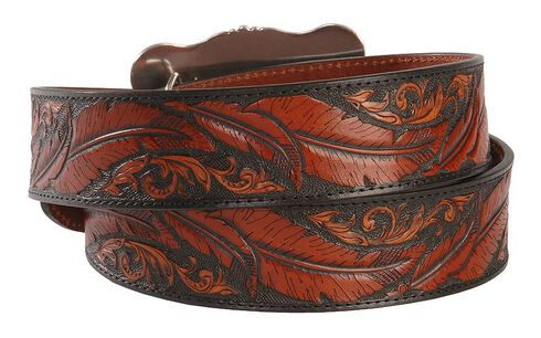 Dancing Feather Leather Western Belt, Brown, hi-res