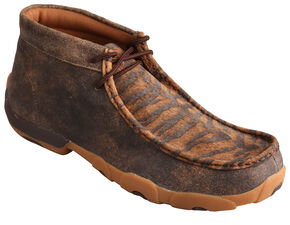 Twisted X Men's Distressed Tiger Leather Driving Mocs, Distressed, hi-res