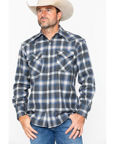 Pendleton Men's Western Wear Wool Canyon Flannel Shirt , Blue, hi-res