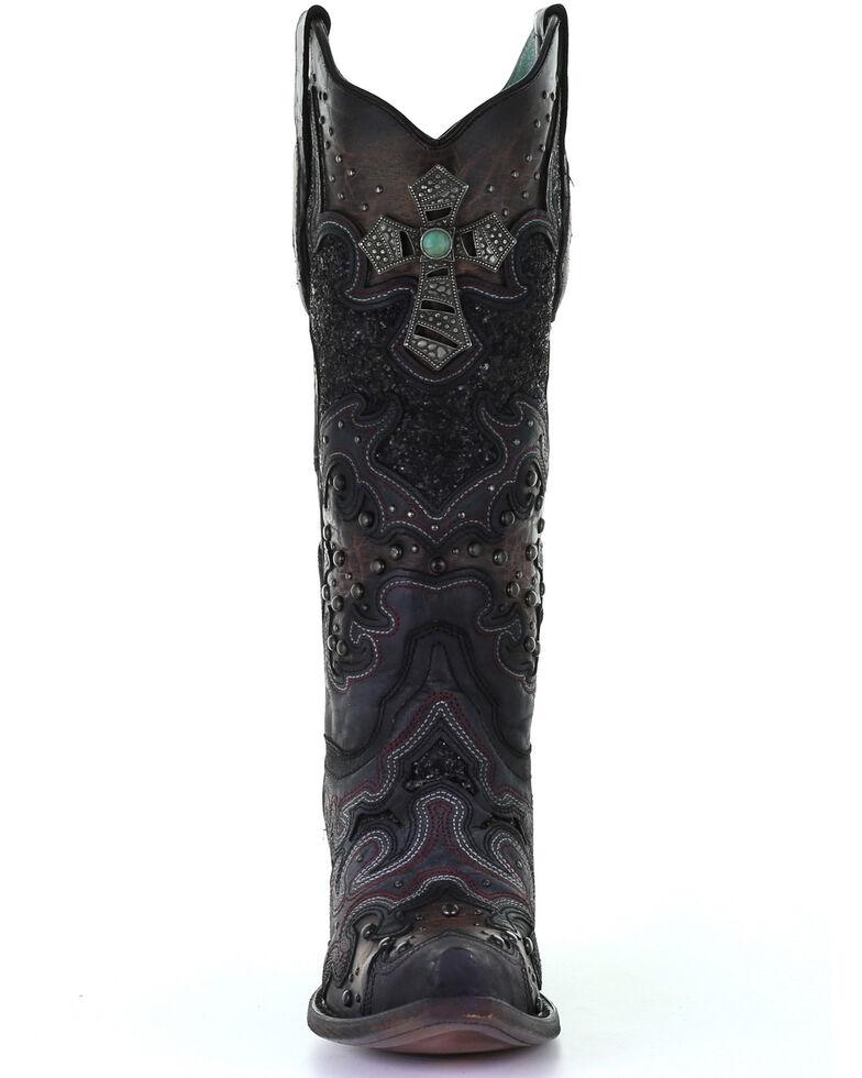 Corral Women's Glitter Inlay & Cross Western Boots - Snip Toe, Black, hi-res