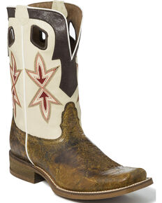 Nocona Men's Two Tone Overlay Cowboy Boots - Square Toe, Tan, hi-res