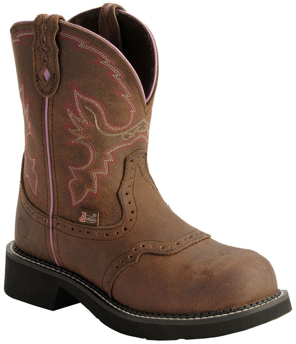 """Justin Gypsy Women's Wanette 8"""" Brown EH Work Boots - Steel Toe, Aged Bark, hi-res"""