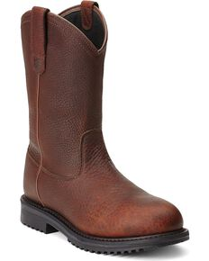 Ariat Men's RigTek Waterproof Pull-On Work Boots - Composite Toe, Brown, hi-res