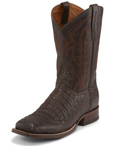 Tony Lama Men's Chocolate Hornback Caiman Western Boots - Square Toe , Chocolate, hi-res