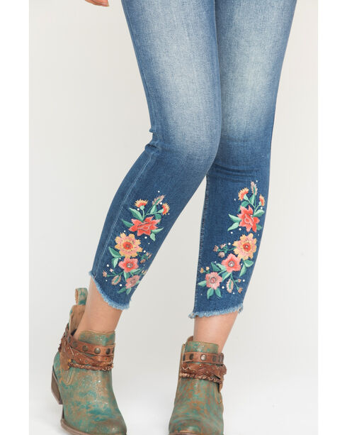 Miss Me Women's Indigo Give Crops Embroidered Jeans - Ankle Skinny , Indigo, hi-res