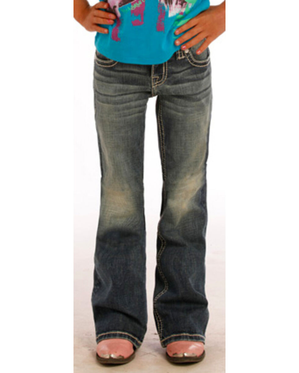 Rock & Roll Cowgirl Girls' Aztec Diamond Pocket Jeans - Boot Cut , Indigo, hi-res