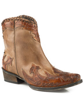 Roper Women's Abigale Tooled Overlay Western Boots - Snip Toe, Tan, hi-res