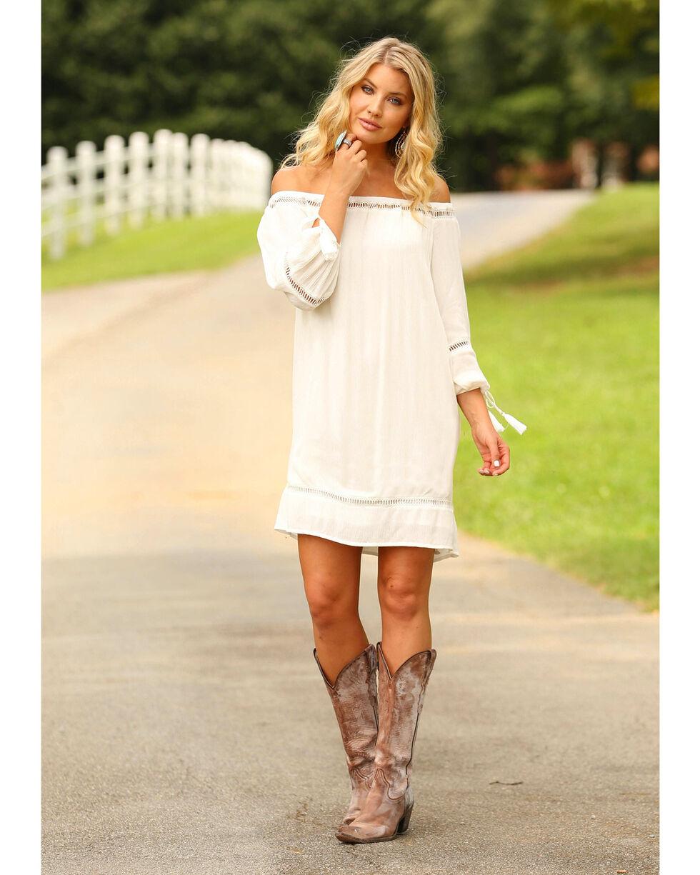 Wrangler Women's Ivory Lace Insert Shift Dress , Ivory, hi-res