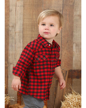 Wrangler Toddler Boys' Red Buffalo Plaid Flannel Shirt , Red, hi-res