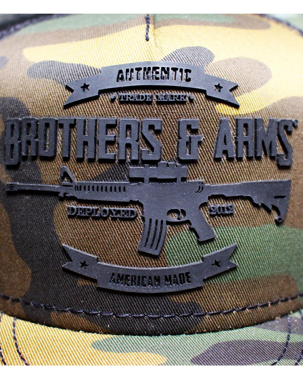 Brothers & Arms Men's Black Rubber Logo Camo Trucker Cap, Black, hi-res