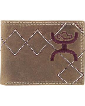 HOOey Men's Embroidered Bi-Fold Wallet, Brown, hi-res