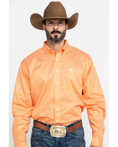 Cinch Men's Orange Diamond Geo Print Long Sleeve Western Shirt , Orange, hi-res