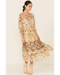 Olive Hill Women's Floral Alexa Dress, Gold, hi-res