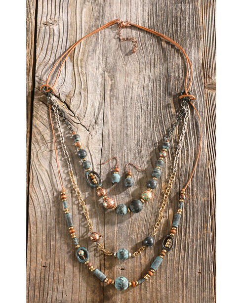 Shyanne Women's Copper Patina Beaded Necklace & Earring Set, Turquoise, hi-res