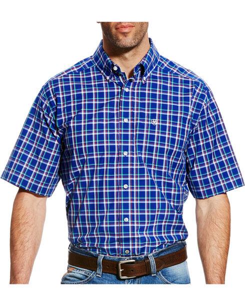 Ariat Men's Blue Dennis Plaid Western Shirt - Tall , , hi-res