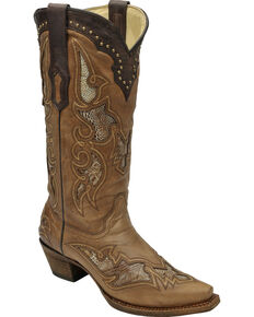 Corral Women's Ostrich Leg Inlay Cowgirl Boots - Snip Toe, Antique Saddle, hi-res