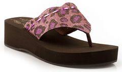 Roper Girls' Glittery Leopard Print Wedge Sandals, Pink, hi-res