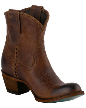 Lane Women's Plain Jane Cognac Booties - Round Toe, Honey, hi-res