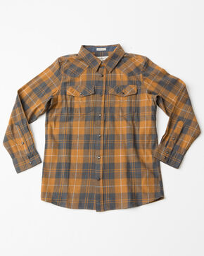 Cody James Boys' Cordova Plaid Long Sleeve Flannel Shirt , Brown, hi-res