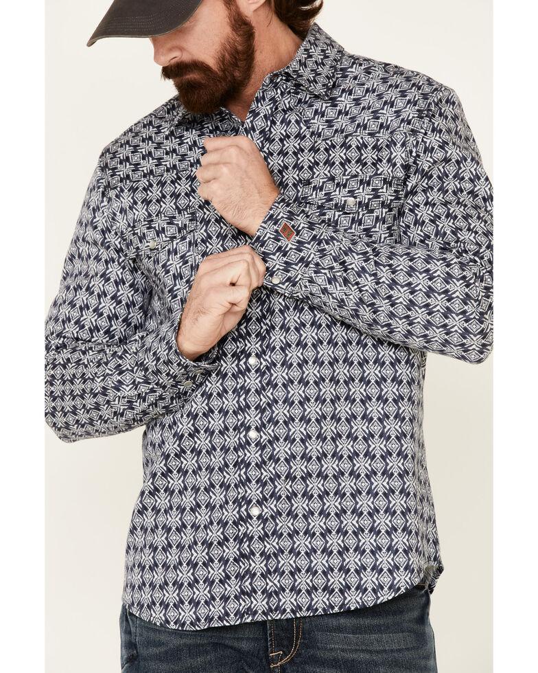 Rock & Roll Denim Men's FR Black Aztec Print Long Sleeve Work Shirt , Black, hi-res
