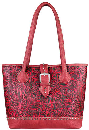 Montana West Trinity Ranch Tooled Design Concealed Handgun Collection Handbag, Red, hi-res