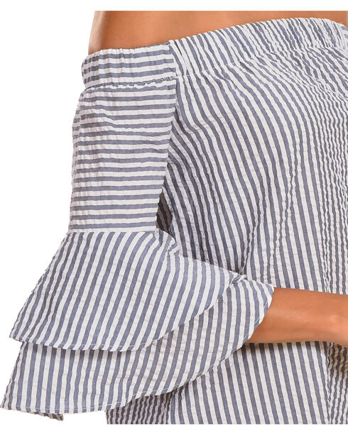 Ces Femme Women's Off The Shoulder Bell Sleeve Dress , Grey, hi-res