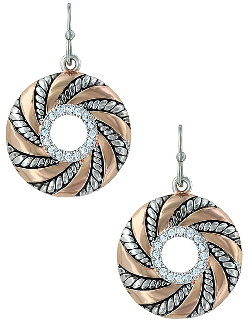 Montana Silversmiths Twisted Wreath of Burnished Ribbon Earrings , Pink, hi-res