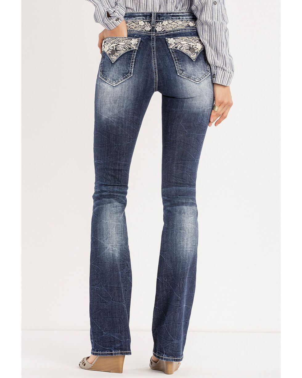 Miss Me Women's Floral Expression Mid-Rise Boot Cut Jeans, Indigo, hi-res