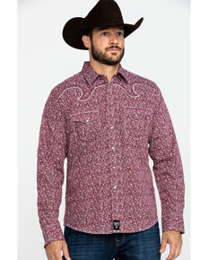 Rock 47 By Wrangler Men's Burgundy Paisley Print Long Sleeve Western Shirt  , Burgundy, hi-res