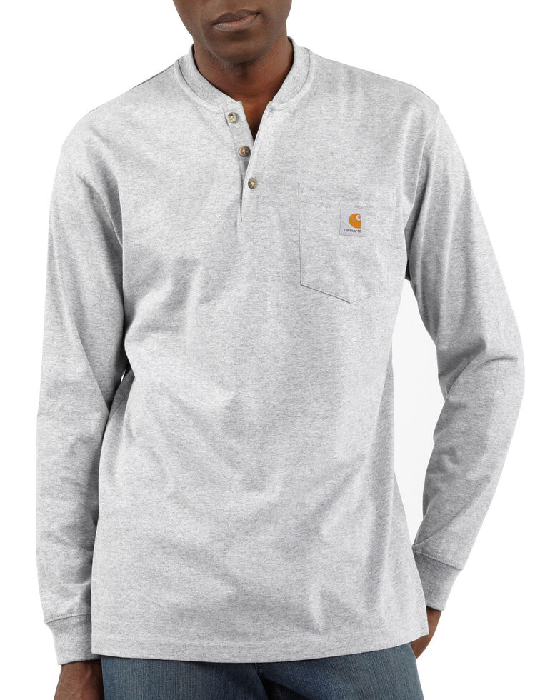 Carhartt Men's Solid Henley Long Sleeve Work Shirt - Big & Tall, Hthr Grey, hi-res
