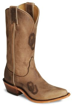 Nocona Oklahoma Sooners College Boots - Snip Toe, Tan, hi-res