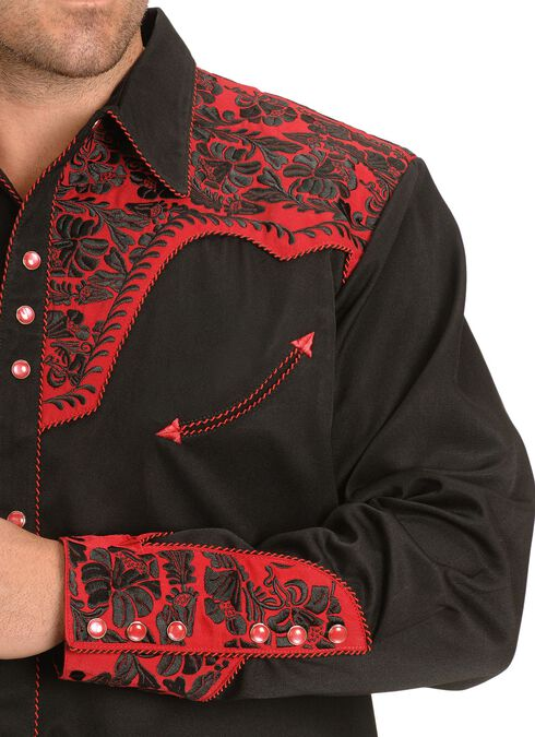 Scully Black and Red Embroidery Retro Western Shirt, Black, hi-res