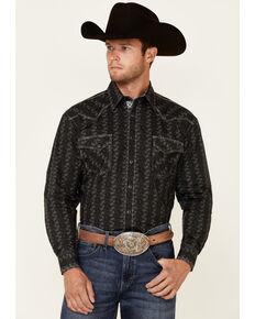 Rough Stock By Panhandle Men's Charcoal Tonal Aztec Print Long Sleeve Snap Western Shirt , Charcoal, hi-res