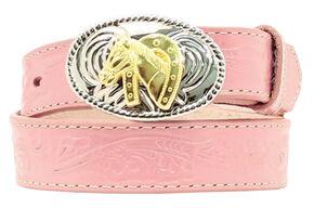 Girls' Pink Horse Buckle Belt, Assorted, hi-res