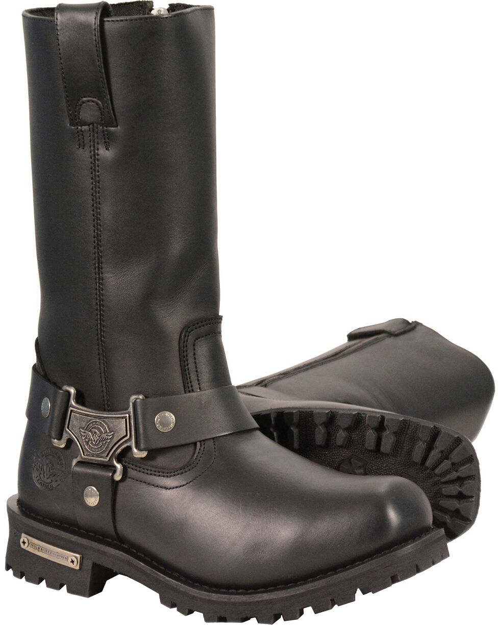 "Milwaukee Leather Men's Black 11"" Waterproof Harness Boots - Square Toe , Black, hi-res"