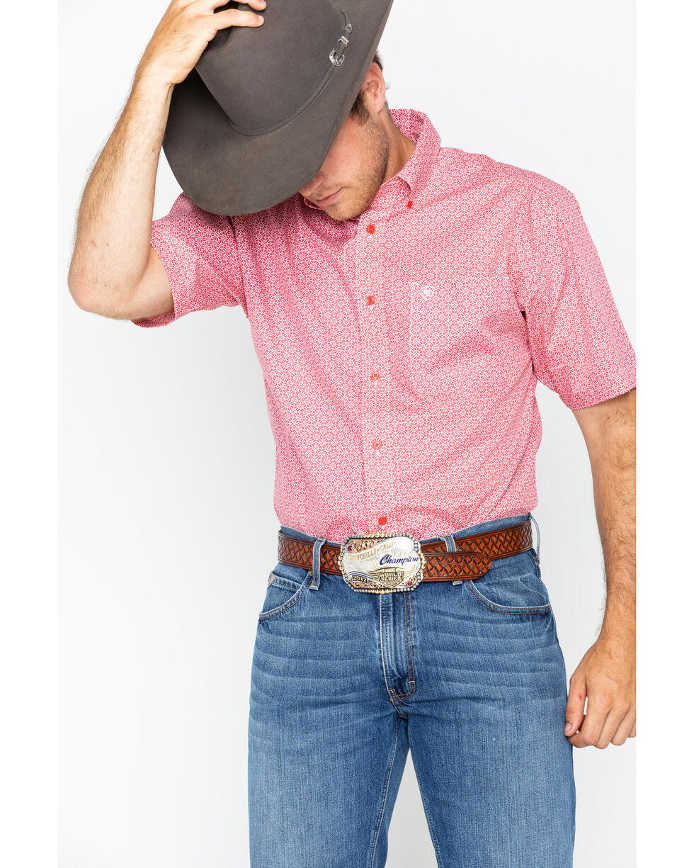 Ariat Men's Red Nyle Print Short Sleeve Shirt , , hi-res