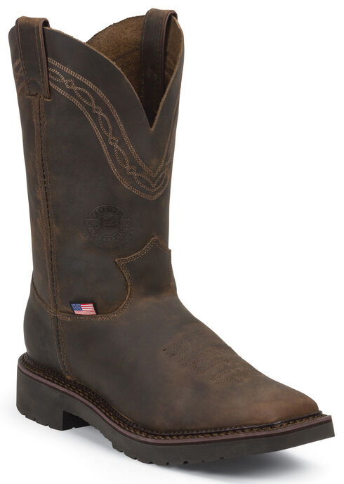 Justin Men's J-Max Caliber Pull-On Work Boots - Steel Toe, Tan, hi-res