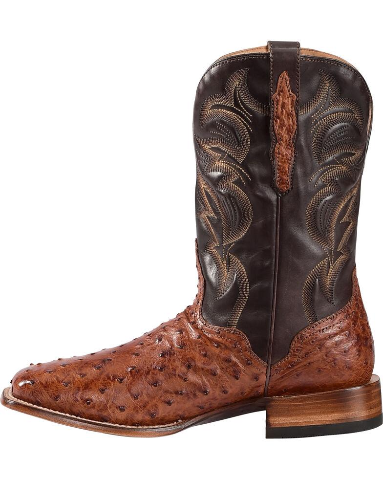 El Dorado Men's Handmade Full Quill Ostrich Stockman Boots - Square Toe, Cognac, hi-res