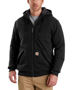 Carhartt Men's Rain Defender Rockland Quilt-Lined Full-Zip Hooded Sweatshirt , Black, hi-res