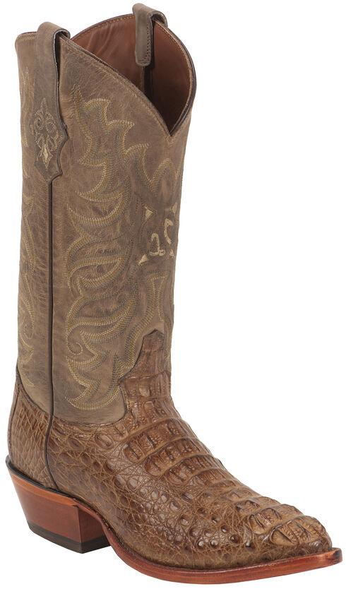 Tony Lama Gold and Tan Vintage Exotics Hornback Caiman Cowboy Boots - Round Toe , Tan, hi-res